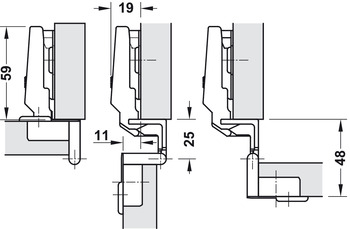 Concealed hinge, With exposed axle 270°