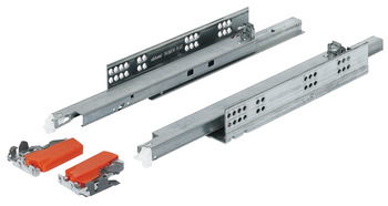 Concealed runners, Blum Tandem 560 H and 566 H full extension, load-bearing capacity up to 50 kg, steel, for surface mounting, snap-in coupling