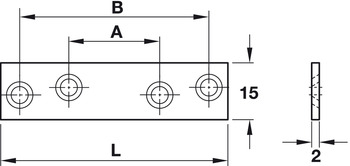 Connecting plate, Steel, with 4 screw holes