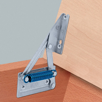 Corner bench hinge, for wooden seat panels, without spring