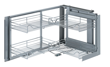 Corner unit pivoting pull-out, with baskets