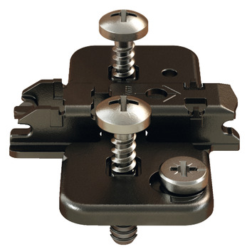 Cruciform mounting plate, Clip/Clip Top, for screw fixing, with pre-mounted special screws and spreading dowel