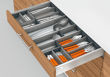 Cutlery set, Blum Orga-Line, Tandembox, for drawers system height M, drawer side height 83 mm