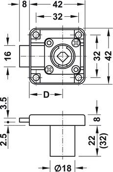 Dead bolt rim lock, Symo, backset 25 mm, bolt travel 8 mm