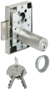 Dead bolt rim lock, with extended pin tumbler cylinder, standard profile, backset 25 mm