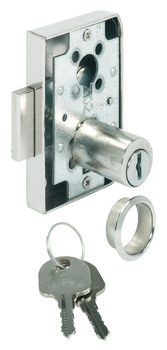 Dead bolt rim lock, With fixed plate cylinder, backset 25 mm