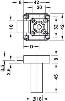 Deadbolt rim lock, Symo, with extended cylinder housing, backset 25 mm