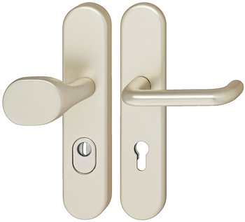 Door handle set , aluminium, A91.12 SB9-LS-ZA-ES1, long backplate
