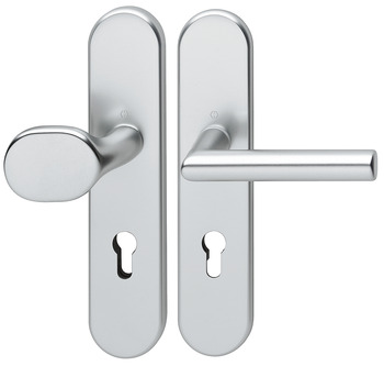Door handle set , Aluminium, Hoppe, Amsterdam 86G/3331/3310/1400 impact resistance category 1 (protection class 2)