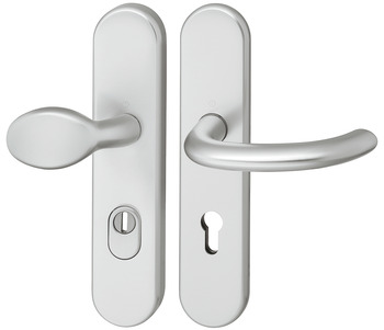 Door handle set , Aluminium, Hoppe, Marseille FS-76G/3332/3330/1138F impact resistance category 1 (protection class 2), with cylinder cover