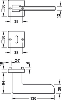 Door handle set, Brass, grade 3, Startec LDH 3350