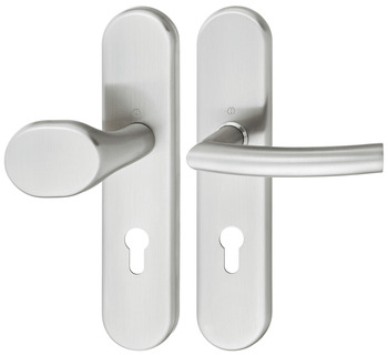 Door handle set , stainless steel, Hoppe, Trondheim E86G/3331/3310/1430Z ES1 (forced entry resistance)