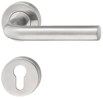 Door handle set, stainless steel, L-shape, rose