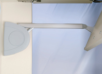 Double flap lift-up fitting, Häfele Senso, for 2-piece flaps with division 1:1