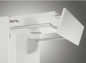 Double flap lift up fitting, Senso+, for two-piece flaps with division 2:1