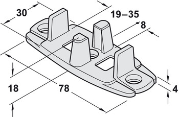 Double guide, for screw fixing, 2-piece
