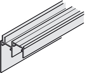 Double guide track, Bottom, with panel, for screw fixing