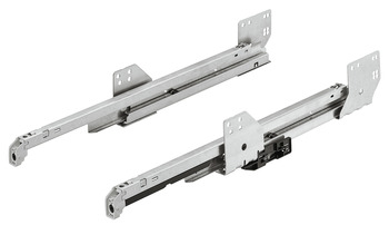 Drawer runners, Overextension, guided by concealed dynamic runners with push-to-open function