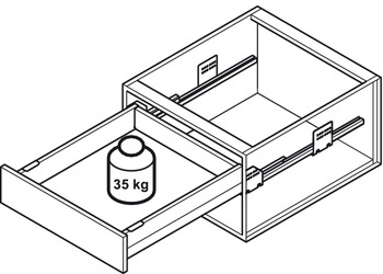 Drawer set, Häfele Matrix Box P35, drawer side height 92 mm, load bearing capacity 35 kg, with Push-to-Open Soft-Close