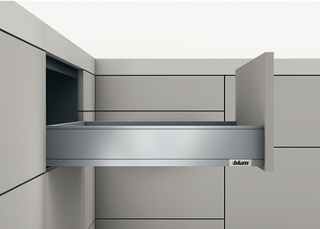 Drawer set, Legrabox pure, drawer side height 90 mm, system height M, with Tip-On Blumotion cabinet rail