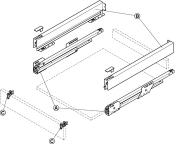Drawer side runner system, Häfele Matrix Box P35, drawer side height 60 mm, load bearing capacity 35 kg