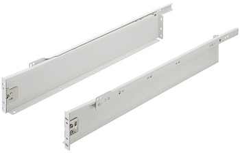 Drawer side runners, single-walled, single extension, height 86 mm, white, RAL 9010, drawer side runner system