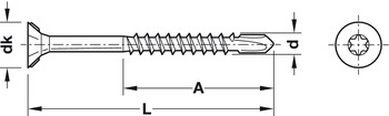 Drilling screw, Hospa, countersunk head with routered ribs, TS, partially threaded with drill point, galvanized