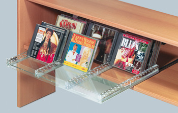 DVD storage system, pull-out for DVD rotated by 90° (horizontal)