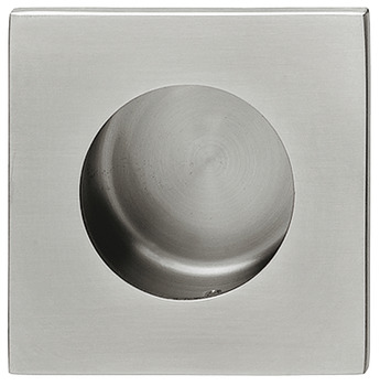 Flush pull handle, stainless steel, outside square, inside round