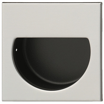 Flush pull handle, stainless steel, outside square, inside semi-circular