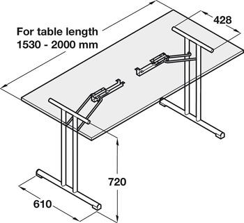Folding table fitting, Folding table fitting
