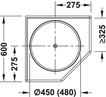 Full circle carousel fitting, wall unit, with carousel shelves, 45° diagonal door