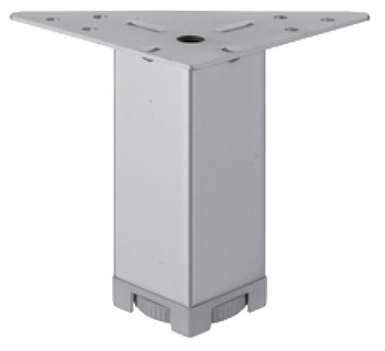 Furniture foot, with plate, with height adjustment facility, steel
