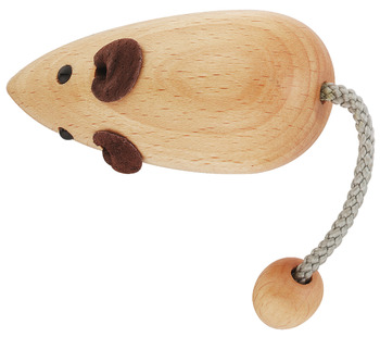 Furniture handle, Beech, lacquered, mouse-shape