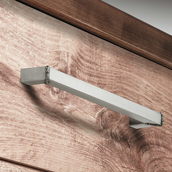 Furniture handle, Stainless steel handle with base, mitre cut welded