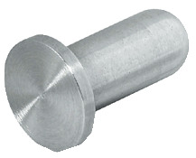 Furniture knob, stainless steel, for glue fixing