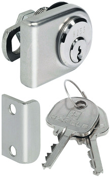 Glass door cam lock, With pin tumbler cylinder, backset 26 mm, standard profile