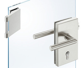 Glass door fitting set, GHP 203, Startec, with 3-piece hinges