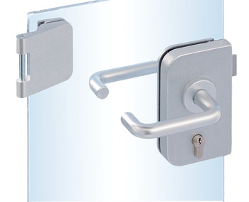 Glass door fitting set, Junior Office, Dorma Glas, with 3-piece hinges