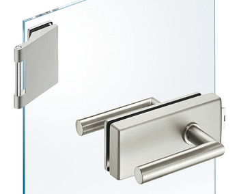 Glass door fitting set, with 3-piece hinges