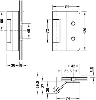 Glass door hinge , VXG 7990/120, 3-piece hinge, Simonswerk