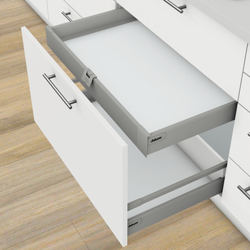 Internal drawer box without railing, Blum Tandembox antaro, system height M, drawer side height 83 mm