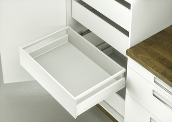 Internal pull out set, Häfele Matrix Box P35 VIS, with front panel and rectangular side railing, drawer side height 92 mm, load bearing capacity 35 kg