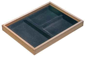 Jewellery insert, stackable, with 3 storage trays, beech, black flocked