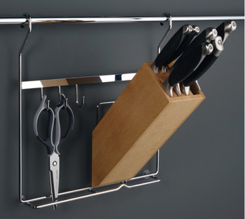 Knife rack, steel, railing system, with knife block and hooks