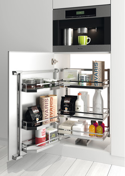 Larder unit pull-out, Kesseböhmer Tandem, with separate door shelf and height adjustable hanging baskets