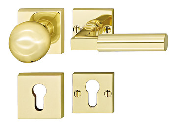 Lever handle set, Brass, Bisschop, Bauhaus Weimar 684/444 N/190