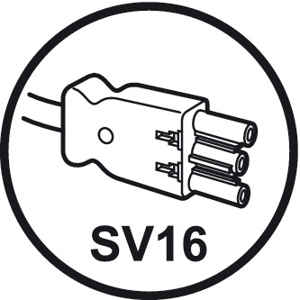 Mains lead, SV16 with plug connector and Schuko safety plug