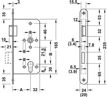 Mortise lock, for hinged doors, Startec, grade 4, profile cylinder, backset 80 mm