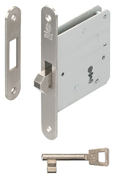 Mortise lock, for sliding doors, with hook latch, Startec, cipher bit, backset 55 mm